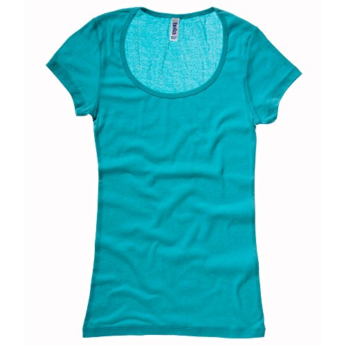 Bella+Canvas Sheer mini rib scoop neck t-shirt Teal