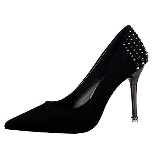 AgooLar Femme Tire Suédé Pointu à Talon Haut Mosaïque Chaussures Légeres Noir