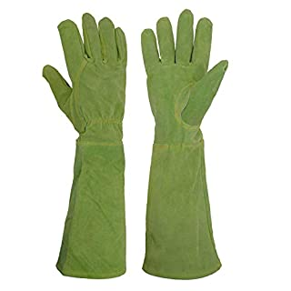Handlandy Ladies Leather Gardening Gloves, Thorn Proof Long Gauntlet Garden Gloves, Elbow Length Rose Pruning Gloves (Medium, Green)