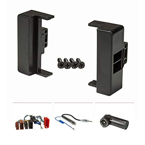tomzz Audio 2403-011 Radioblende Set passend für Audi A4 B5 8D schwarz mit Aktivsystemadapter ISO, Antennenadapter Phantomeinspeisung DIN ISO