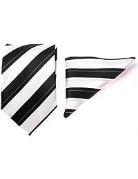 gadzo® Krawatten Set Einstecktuch + 8,5 cm uni gestreift Krawatte 100 % seide