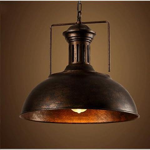 YM@YG Lampadario di eoliche industriali in ferro piatto stile caffetteria ristorante pesce hotpot (41cm) , rust
