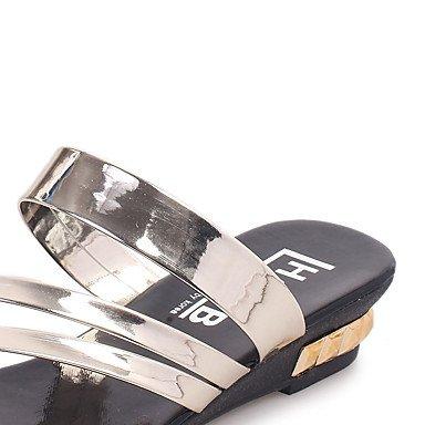 Silber Schwarz Gold Absatz Flacher Komfort L盲ssig PU Sandalen Kleid LvYuan Black wq7gOf
