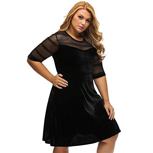 PU&PU Femmes Plus Size Sortie / Party Velvet Mesh Patchwork Col rond Manche coude Robe mi-longue Black