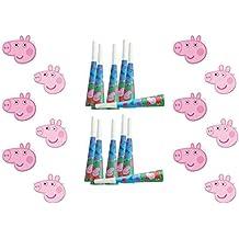 ALMACENESADAN, 0603, peppa pig y george, pack 12 caretas peppa pig y george y 12 trompetas peppa pig y george
