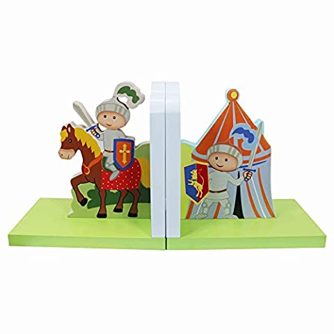 Fantasy Fields - Knights & Dragon themed Set of 2 Wooden Bookends for Kids | Hand Crafted & Hand Painted Book Ends | Child Friendly Water-based