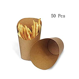 UCTOP Store 50 Pcs 14oz Disposal Take-Out Party Frozen Dessert Supplies Baking Cakes Egg Puff Waffle French Fries Chips Ice Cream Snacks Kraft Paper Cups Holder