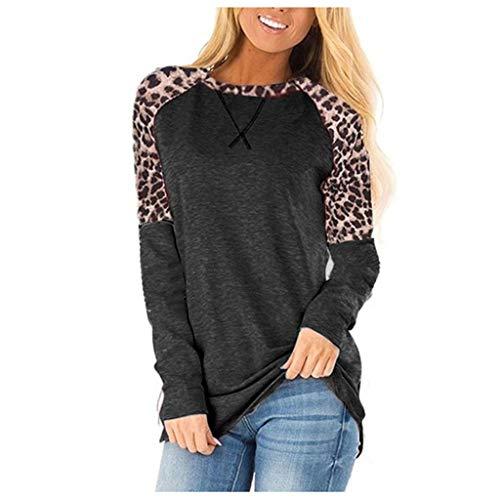Lazzboy Sweatshirt Damenmode Winter Runde Leopardenmuster Nähte Lässige Bluse Damen Pullover Rundhals Oberteil Langarmshirts T-Shirt Leoparden Splice Tunik(Schwarz,M)