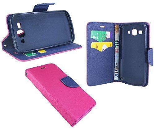 Huawei Ascend Y540 // Buchtasche Hülle Case Tasche Wallet BookStyle mit STANDFUNKTION in Pink-Blau (2-Farbig) @ Energmix
