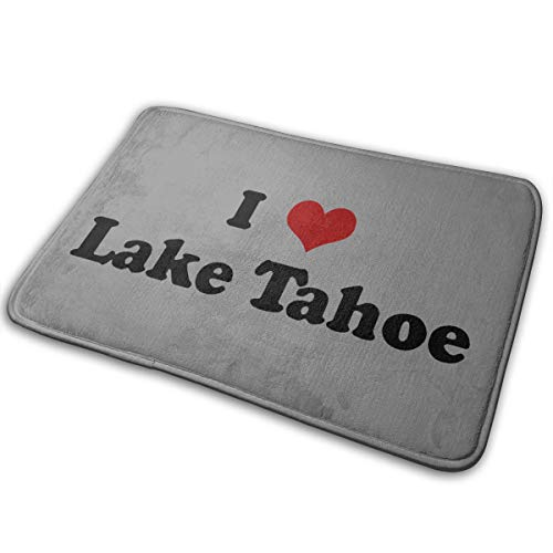 Dimension Art I Love Lake Tahoe Memory Foam Bath Mat Non-Slip Absorbent Super Cozy Soft Velvet Bathroom Rug Carpet, 15.7