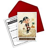 6 Miniz Invit' et enveloppes - cartes d'invitation anniversaire pirate - Jack le pirate (en français)