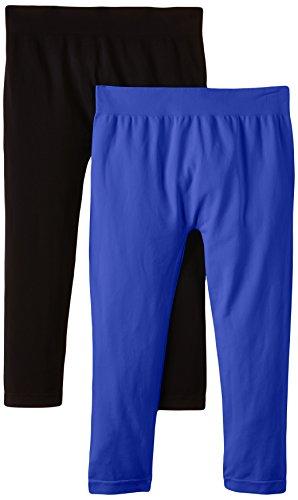 Luigi di Focenza Damen Matt Fein Legging 1712, 2er Pack, 100 DEN, Gr. One size, Blau (royalblau-schwarz 334/001) (Damen-seamless-capri)