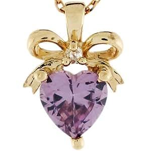 14ct Or Pendentif Pierre Naissance Juin Diamant 0.025cttw Alexandrite Synthétique
