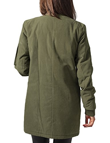 Urban Classics Ladies Peached Long Bomber Jacket, Veste Femme Vert (olive 176)