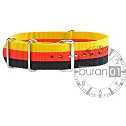 VK from Buran01.com Military Nylon WATCH STRAP Black-Red-Yellow 22 mm WATCH STRAP