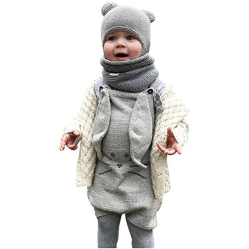 Kleinkind Jumpsuit CLOOM Neugeboren Jungen Mädchen cute Kaninchen Ohr Jumpsuit Strampler Romper Gestrickte Baumwolle Spielanzug Overall Outfits Kleidung (100, Grau) (Pyjama Fleece Dot)