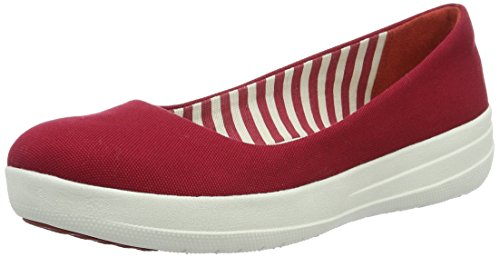 Fitflop F-Sporty Canvas, Ballerine Donna, Red (FF Red), 38,5 EU