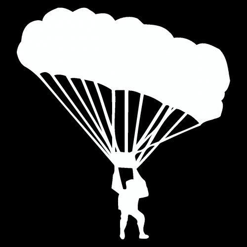 plot4u Fallschirmspringer Aufkleber Fallschirm in 6 Größen und 25 Farben (7,4x8cm weiß) (Fallschirm-aufkleber)