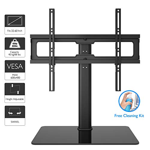 """1home Table Top Pedestal TV Stand for 32""""-60"""" LCD/LED/Plasma TVs Swivel Height Adjustable"""