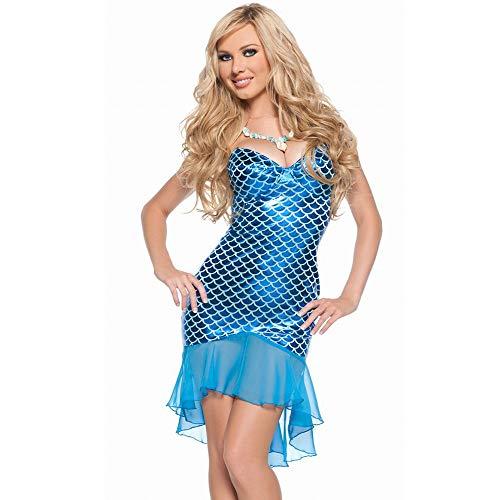 QMKJ Frauen Fancy Kleid Mermaid Schwanz Rock Blaue Pailletten Fischschwanz-Outfit sexy Meerjungfrau Fisch Skala Hologramm blauen Seiden Fischschwanz