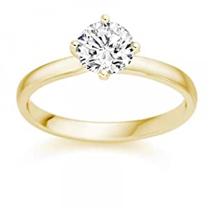 1/4 Carat G/VS2 Round Brilliant Certified Diamond Solitaire Engagement Ring in 18k Yellow Gold