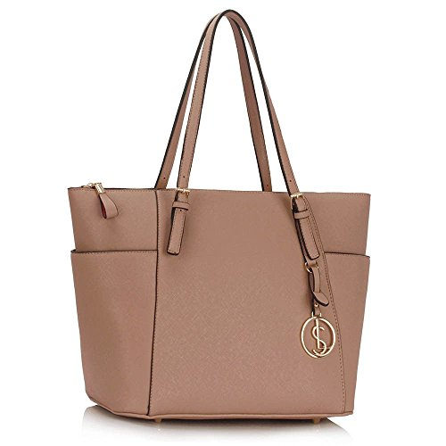 41nMW4Rdf1L - BEST BUY #1 LeahWard® Ladies Fashion Desinger Quality Tote Bags Women's Trendy Hotselling Handbags Large Size Shoulder Bags CWS00350 (Nude) Reviews and price compare uk