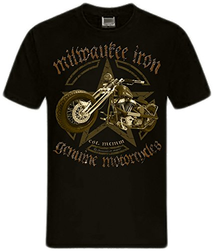 Biker Shirt T-Shirts Milwaukee Iron Chopper Bobber Route 66, Skull V2 Motorrad Army Chopper schwarz