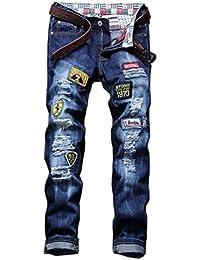 Ghope Homme Denim Pantalon Jeans Slim Fit Straight Style Vintage Déchiré Troué Patchwork Blau W28-W36
