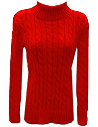 fc85f1e3d45 New Ladies Polo Neck Women Cable Knitted Full Sleeve Girls Top Jumper  Sweater Blouse Free/
