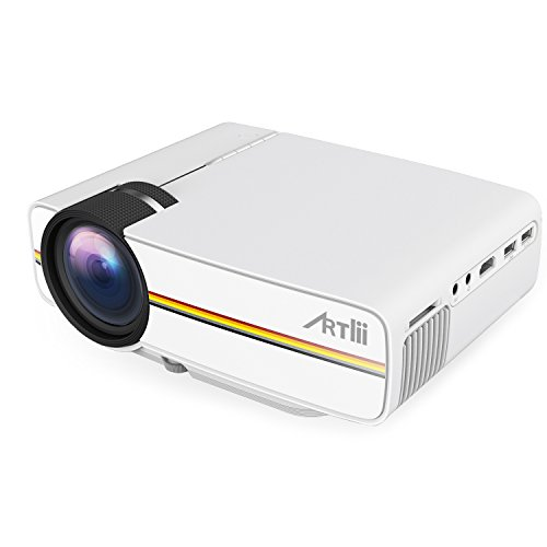 Artlii videoproiettore proiettori Proiettore Portatile 1200 lumen LED casa LCDMini 1080p HD Proiettore del teatro domestico di sostegno del teatro USB / SD / AV / HDMI per la TV / film / giochi / Arte Camping Pocket Projector Interface Bianco