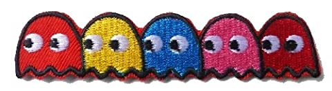 Pacman 5 Ghosts - Blinky, Pinky, Inky. Clyde & Yum-Yum Arcade Iron on Sew on Embroidered Badge Applique Motif Patch From