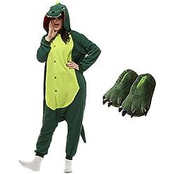 Casa Dinosaurios Onesie Pijamas Kigurumi Animal Unisexo para Adultos Traje de Cosplay Disfraz para Festival de Carnaval Halloween Navidad Pijama y zapatos , Zapatos de talla 40-44cm
