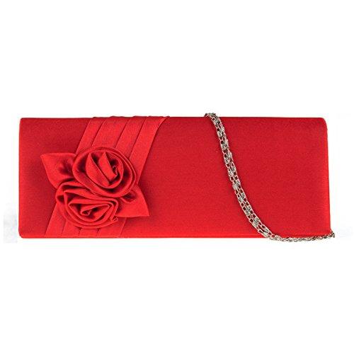 UKFS Raso Rose Rene Pochette Da Giorno / Donne Ragazze Fiore Matrimonio Progettista Borsa A Tracolla / Sacchetto Di Sera (Rosso) Rosso