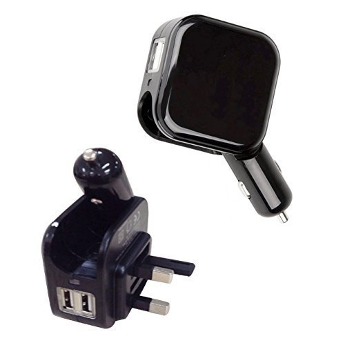 Kinden Adattatore Auto Doppio Usb 2 in 1 caricatore USB e 5 V/2.1 A Casa da viaggio AC Adattatore di Alimentazione di ricarica per iPhone 6s 6 6 Plus iPad Air Samsung, HTC, LG Black