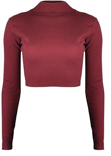 RE TECH UK Donna Cotone a costine Polo collo alto top corto corto a manica lunga tinta unita Vino