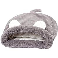 POPETPOP Cómoda y Cálida Cama para Mascotas, Saco de Dormir de Felpa para Perros Gatos - Tamaño L (Gris)