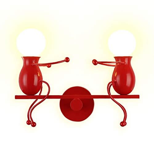 YOXANG Moderne Kreativ Design Wandleuchte LED Innen Doppelt Kleine Leute Wandbeleuchtung Terasse Dekorativ Metall Eisen Mini Puppe Nachttischlampe Kinderzimmer Wandlampe Kinder Geschenk 2×E27 (Rot) -
