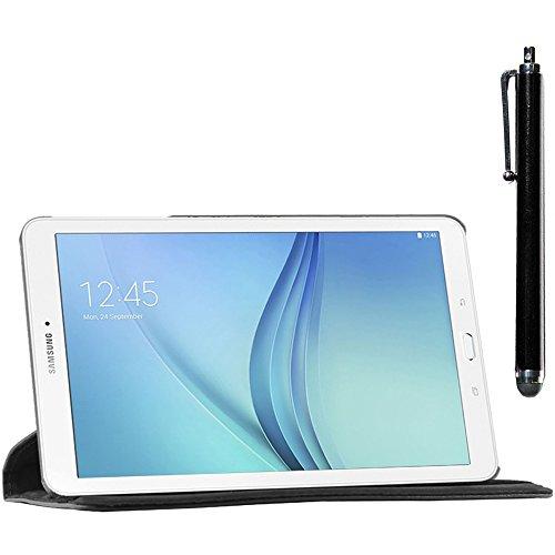 ebestStar - kompatibel Samsung Galaxy Tab E 9.6 Hülle T560, T561 Rotierend Schutzhülle Etui, Schutz Hülle Ständer, Rotating Case Cover Stand + Stift, Schwarz [Tab: 241.9 x 149.5 x 8.5mm, 9.6\'\']