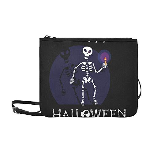 aii Skelett Halloween Muster Benutzerdefinierte hochwertige Nylon Slim Clutch Crossbody Tasche Umhängetasche ()