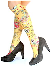 Hotlook Yellow Paisley Kniestrümpfe Muster gelb schwarz funny schick bedruckt von Hotlook