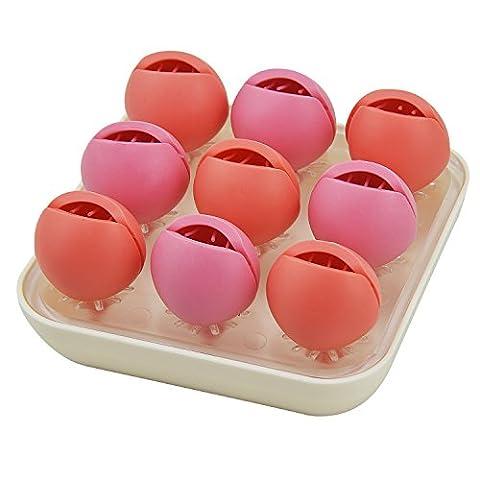 Rancco® Office Organiseur de bureau/cosmétique Bijoux Boîtes de rangement W/9pcs Support en silicone, mignon Motif floral Maquillage Organiseur de bureau Coque pour maison, Toilettes, bureau 4.7*4.7*2.2 inch Red