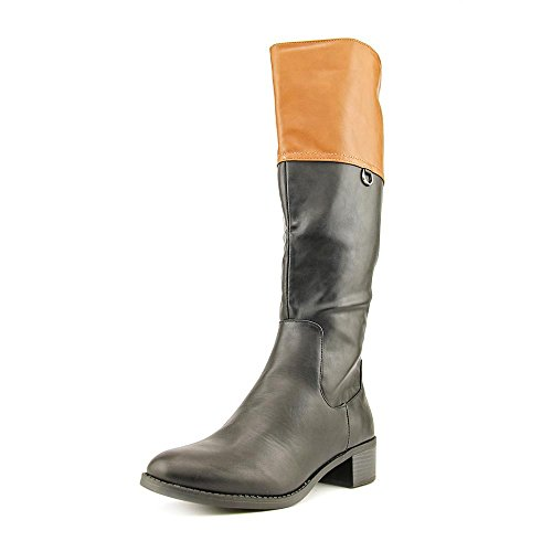 Easy Street Scotsdale Breit Rund Synthetik Mode-Knie hoch Stiefel Black/Tan