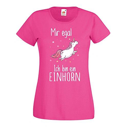 EINHORN Damen Mädchen T-Shirt Mir egal ich bin ein Unicorn Spruch Fun Ladyfit Fuchsia 116 (Kindergöße)