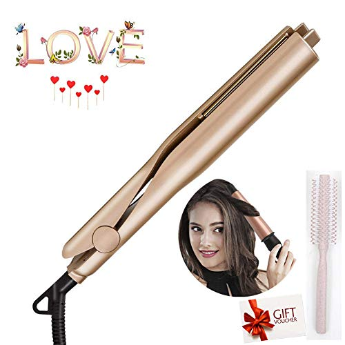 Lockenstab Curling Iron - Keramik Thermostat Trocken und Nass 2-in-1 Hair Curler mit 360°drehbarem Stromkabel, Rotierende Eisen Haarglätter Curling Flip-Flops Haarbürste (x-Gold+Curling Comb)