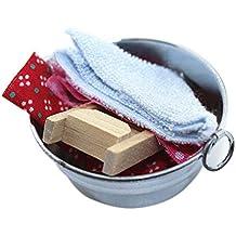 qingsb Dollhouse Accesorios Miniatura Lavabo Toalla Mini baño decoración Juguete