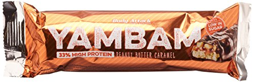 Body Attack YAMBAM Protein Bar, Peanut Butter Caramel, 15x 80g, 1er Pack (1x 1.2kg) -