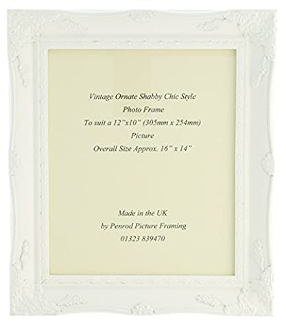 Matt White Shabby Chic Ornate Swept Vintage Picture Frame For a 12