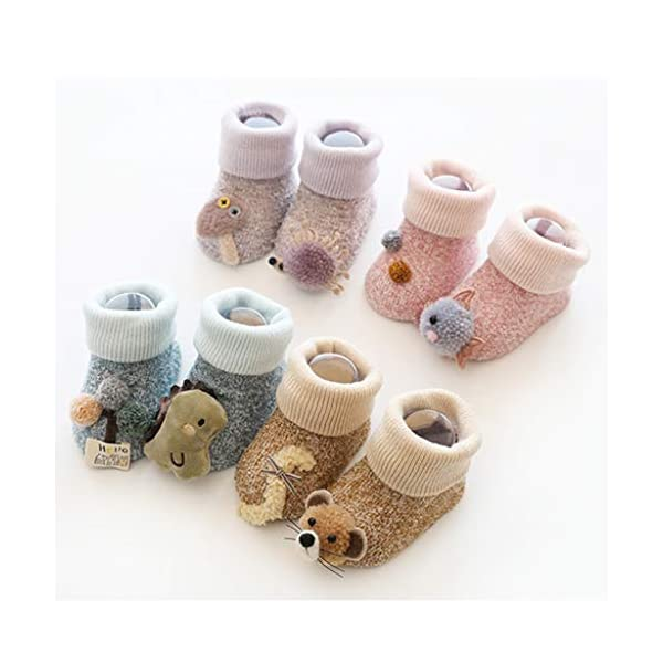 ZOOMY Baby Boy Girl Infant Kid First Walkers Sock Calcetín Antideslizante Suela para Suelo - purle 2