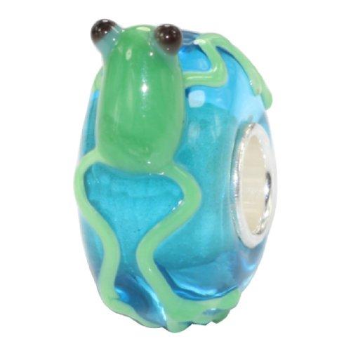 Beads hunter, motivo: Sweet a forma di rana, in argento Sterling 925 con perle di vetro