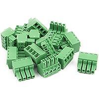 sourcingmap 15uds CA 300V 8A 4P de Bloque Borne Terminal de Conexión de Cable para Montaje en PCB de Paso de 3,81 mm